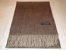 100% Cashmere Scarf Soft 72X12 Brown Tweed Herringbone Scotland Plaid Wool Women