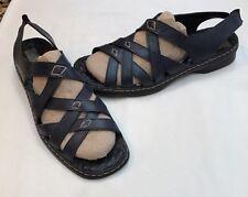 Josef Seibel Air Massage Blue Leather Strappy Slip On Sandals Size 43 11.5-12 M