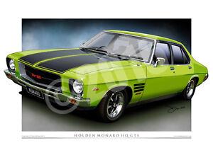 Holden HQ Monaro Art Print  - Classic HQ GTS Car Drawing ( 27 Colours )