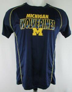 Michigan Wolverines Men's Champion Blue Polyester Short Sleeve Tee NCAA M 2XL