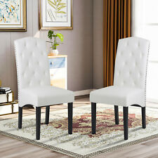 New ListingSet of 2 Dining Room Chairs Kitchen Chairs Pu Leather Breakfast Furniture White