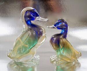 Pair Archimede Seguso Murano Glass Flavio Poli Bullicante Duck Figurine