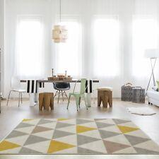 Milan Ochre Mustard Yellow Grey Beige Harlequin Triangles Traditional Living Roo