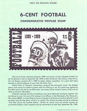 USPS Unofficial Souvenir Page #1382 Football 1869-1969 No Stamp Never Posted