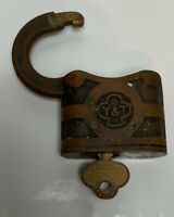 Vintage Yale & Towne Y&T Brass Steamer Padlock Lock With Key 🔑