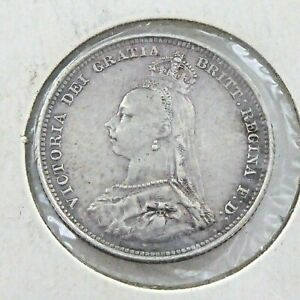 SILVER VICTORIAN ONE SHILLING COIN, DATED  1887..