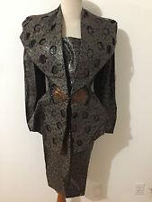 Vintage 80's Couture Skirt Suit Olive & Brown w/Copper & Black Beads Fits Sz M/L