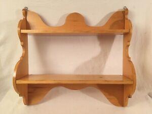 Vintage 2 Tier Wood Knick Knack Display Wall Shelf Birch Wood
