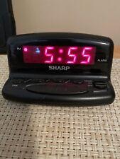 Used Sharp Nightstand Alarm Clock Digital LED Display w/Snooze & Battery Backup