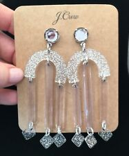 J.Crew Crystal Fortress Earrings! Sold Out! New$58 metallic silver With Bag!