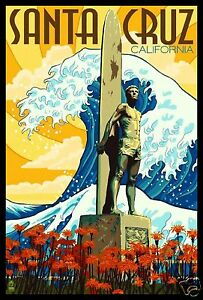 Santa Cruz FRIDGE MAGNET 6x8 California Surfing Travel Poster Canvas Print