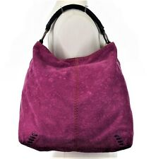 LUCKY BRAND MEDIUM SLOUCH HOBO BAG BERRY PURPLE EMBOSSED SUEDE BOHO HANDBAG