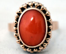 Antique Victorian 8K Solid Gold and Natural Undyed Coral Ring Size 8 1/4