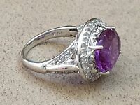 HSN Victoria Wieck 8.2 CT Amethyst & White Topaz Sterling Silver Ring size 10