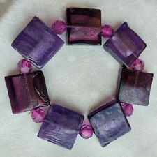 Purple Dichroic Glass Bead Bracelet Fused Hand Made Crafted