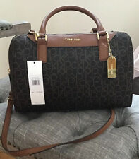 NWT Calvin Klein Dorus Handbag Brown Monogram Satchel Bag H7JDJ7MJ MSRP $158