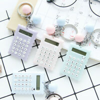Cute Animal 8 Digits Electronic Mini Calculator Keychain Ball Candy Color