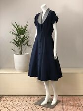 New listing Navy Grosgrain Faille Day Shirt Dress W/ Gingham Taffeta Collar 40's 50's S/M