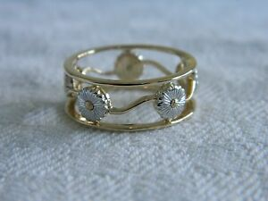 Clogau 9ct Yellow & White Gold Daisy Ring RRP £550.00 size M