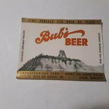 Irtp Bub'S Beer 64 Oz. Beer Label Sugar Loaf Peter Bub Brewery Winona, Minn.