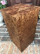 Cube End Table 1960s 1970s Custom Cube Side Table Pedestal Stand Elm Burl Wood