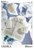 VAT Free Hand Knitting Pattern 4ply Baby Child Matinee Coat Jacket Hat UKHKA18