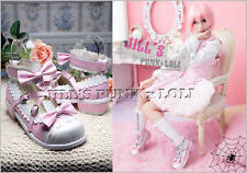 Lolita Baby Doll Pink Bow Scalloped 7/7.5 Heel shoes 37 2506 pink+white