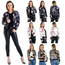 Womens Flower Floral Print Bomber Jacket Coat Ladies Zip up Casual Loose Coats