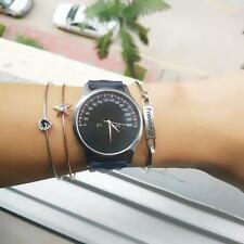Women Ladies Leather Band Analog Quartz Wrist Watch Black Gift US