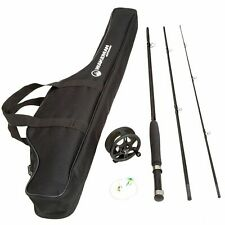 Fishing Fly Rod and Reel Combo With Carrying Case 3 Piece 8 Feet Long Black New