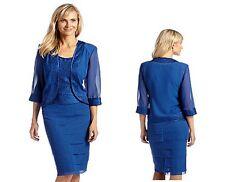 Blue Chiffon & Satin Jacket Skirt Top Dress Set Mother Bride Semi Formal 18