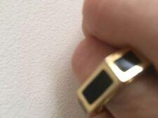 TORY BURCH Logo Octagon Rylan Gold Plated Black Enamel Ring Size 6