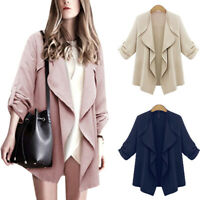Women Ladies Long Sleeve Waterfall Cardigan Trench Long Coat Duster Jacket Sizes