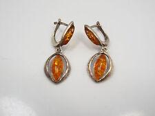 Vintage Sterling Silver & Amber Dangle Earrings