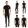 Sexy Men Wet Look Zippered Open Crotch Bodysuit Leather Catsuit Nightclub