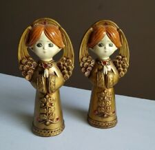 Vtg Mid Century Japan Hand Painted Christmas Angels Gold Statues Wood 8 1/4""