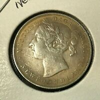1899 NEWFOUNDLAND CANADA 20 CENTS STERLING SILVER COIN