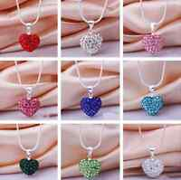 women Fashion Crystal Heart beaded Silver Plated Pendant Chain Necklace Jewelry