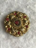 Antique Czech Brooch 1920s Pink Glass Paste Art Nouveau Jewellery Jewelry Retro