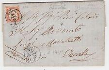 STORIA POSTALE 1859 SARDEGNA C.40 VERMIGLIO ARANCIO SCURO CANDIA Z/5928