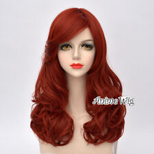 55CM Long Curly Hair Lady Lolita Orange Red Party Anime Cosplay Wig + Cap