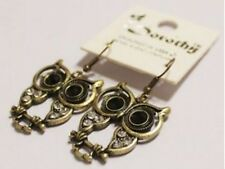 Bronze Coloured Owl Drop Earrings With Diamonte / Diamante Detail
