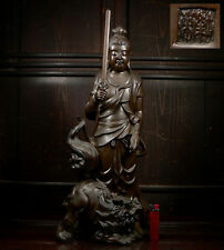 Japanese Bronze Buddhist Buddha Monju Bosatsu Kannon Shishi Lion Statue Okimono