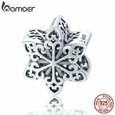 Auction European 925 Sterling Silver charm Elegant SnowflakeFor Bracelet Jewelry