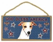 "Whippet or Greyhound Indoor God Bless America Sign 5""x 10"" with Jute Hanger"