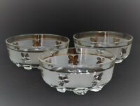VINTAGE DEVALBOR ITALY SET OF 3 ICE CREAM DESSERT BOWLS GLASS WHEAT DESIGN