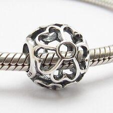 PRIMROSE FLOWERS OPENWORK CHARM Sterling Silver.925 for European Bracelet 666