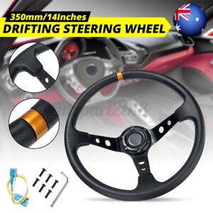 AUS 350mm Deep Dish 3 Spoke 6 Bolt PU JDM Sport Racing Drifting Steering  γβ ¨