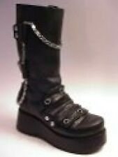 Phantom Black Leather Platform Boot Silver Chains Snap/Rivet Just The Right Shoe