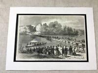1853 Stampa Cobham Surrey Virginia Acqua Fiume Paesaggi Pontoon Antico Originale